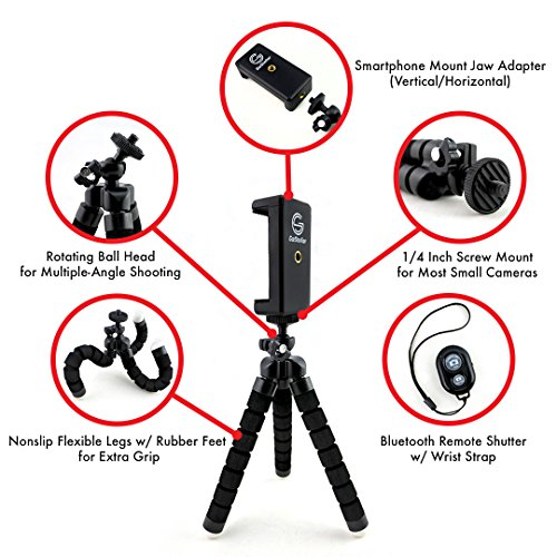 GoStellar-Universal-Flexible-Mini-Tripod-Lightweight-Ball-Head-for-Cameras-and-Smartphone-Devices-Mount-Adapter-Bluetooth-Remote-Shutter-Wrist-Strap