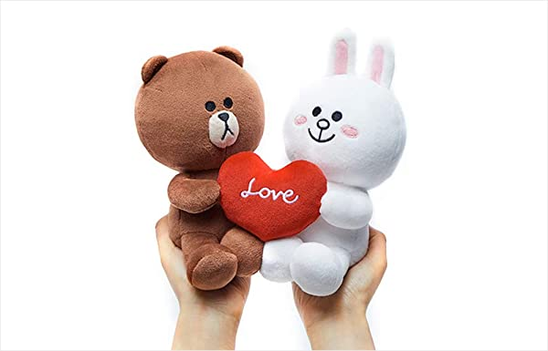 Line Friends Korea Season 5 Brown and Cony Couple Plush doll Set Stuffed Sitting Doll 8 (Tamaño: 8 inches)