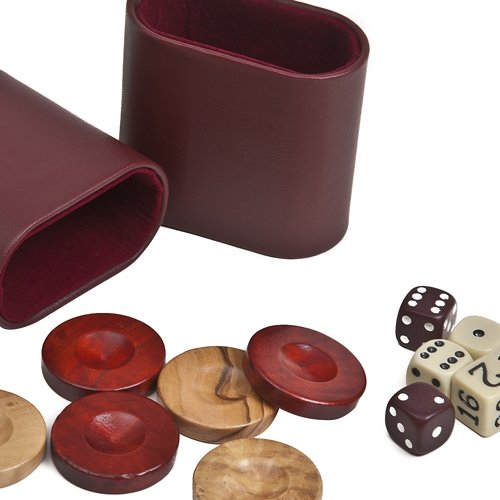 Nikkos Jr., Deluxe Olive Wood Backgammon Checkers from Greece , Dice & Two Dice Cups -Red/Natural Wood 1""