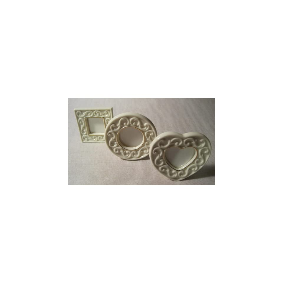 Lenox Fine China, Set of 3 Miniature Frames, Heart, Square
