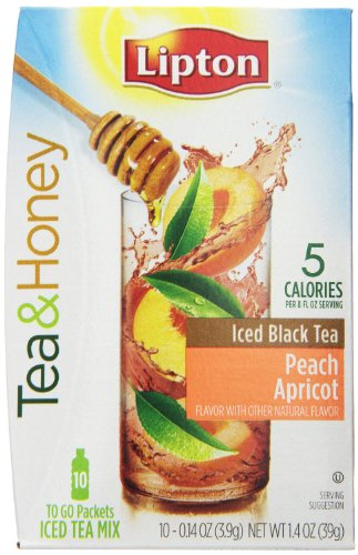 Lipton To Go Stix Iced Black Tea Mix, Tea And Honey, Peach Apricot, 10 Count (Pack Of 3)
