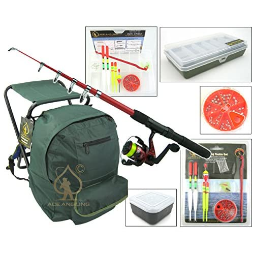 Ace Angling™ Junior Beginners Fishing Kit Set Inc. Rod, Reel, Tackle Set, Seat Rucksack & Bait Box