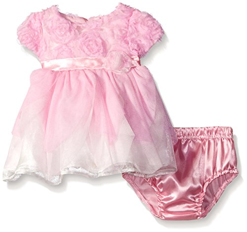 Nannette Little Girls Petal Dress, Pink, 12 Months