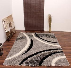 Teppich Hochflor Shaggy Muster Grau Schwarz  Black Silver Cream  Top Preis, Grösse80x300 cm    Rezension