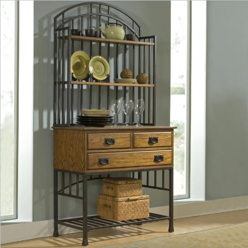 Home Styles 5050-615 Oak Hill Bakers Rack  Hutch,