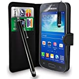 Samsung Galaxy Ace 3 S7272 /S7575 /S7270- Premium Leather Wallet Flip Case Cover Pouch + Long Touch Stylus Pen + Mini Touch Stylus Pen + Screen Protector & Polishing Cloth (AA Wallet Black)