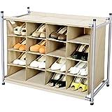 StorageManiac 16 Compartment Shoe Cubby, 16-Pair Chocolate Shoes Organizer, 16-Cubby Shoe Storage