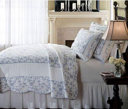 Blue Woven Cotton 3-Piece Quilt Set Floral Country Cottage Victorian Comforter front-1048269