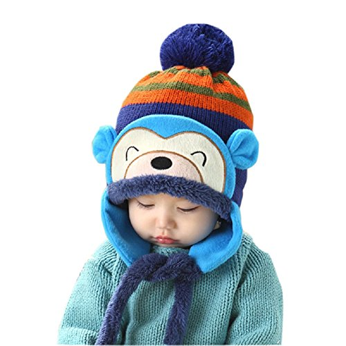 Knit Beanie Cap for Baby, Misaky Winter Warm Kids Girl Boy Ear Thick Hat (Blue)