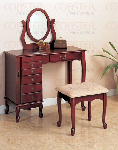 For Sale! Coaster Cherry Finish Storage Vanity Table Set w/Mirror & Stool