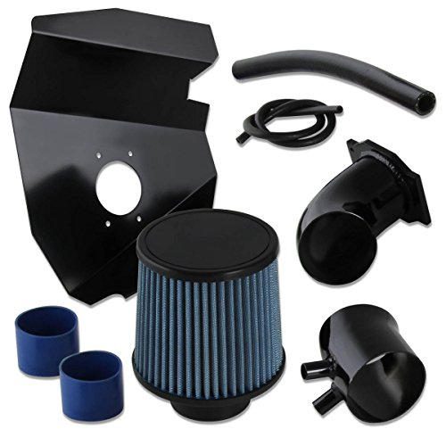Nissan Frontier/Xterra 3.3L V6 Black Cold Air Intake Pipe +Heat Shield+Blue Filter (Nissan Frontier Air Intake compare prices)