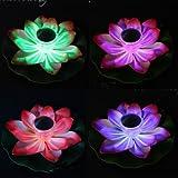 Lampe solaire à LED en forme de fleur de Lotus flottant étang de Jardin Piscine Veilleuse