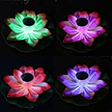 2 X Firefly Trendy Hip Unique Waterproof Solar Floating LED Lotus Light, Color-changing Flower Night Lamp /Pond /Garden/house Lights for Pool /Party Fancy Ideal Novel Creative Gift for Christmas