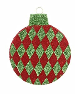 """12"""" Red and Green Shimmering Argyle Giant Foam Ball Christmas Ornament"""