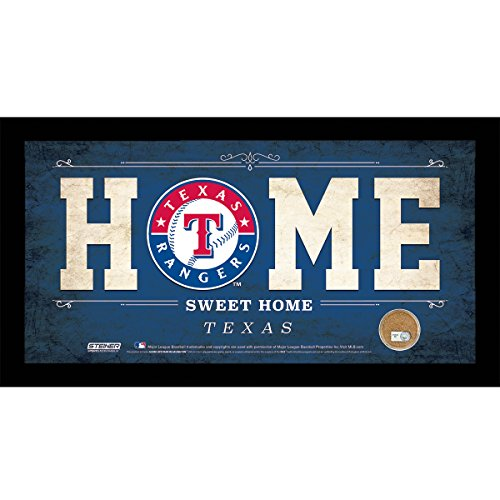 MLB Texas Rangers Home Sweet Home Sign with Game-Used Dirt from Rangers Ballpark in Arlington, 6 x 12