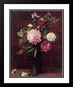 Fantin Latour, Ignace Henri Jean Theodore 28x34 Framed and Double Matted Flowers, Large Bouquet with Three Peonies