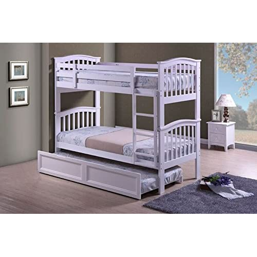 Hampton Hardwood White Finished Bunk Bed with Trundle Guest Bed