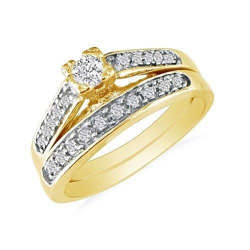 SuperJeweler 1/2ct Classic Diamond Bridal Set in 10k Yellow Gold SI2-I1 and I-J