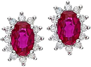 Naava Round Brilliant 0.25ct Ruby and Diamond 9ct White Gold Oval Cluster Earrings