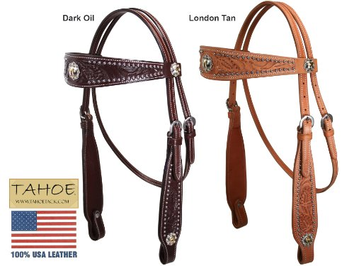 Tahoe Buckaroo Classic Headstall USA Leather with Gold Cross Conchos Dark Oil - Over Stock Sale