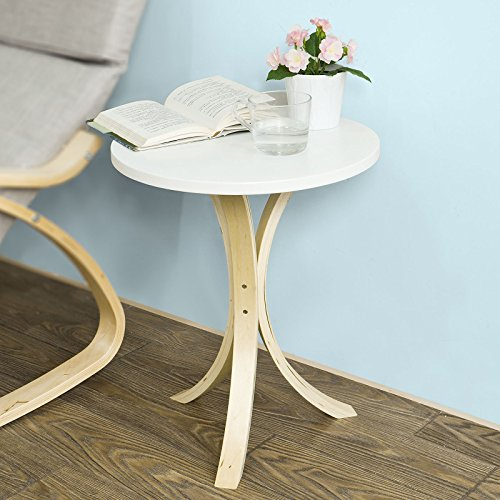 SoBuy Round Wooden Side Table, Tea Coffee Table, Telephone Table, FBT29-W (Side Tables And Coffee Tables compare prices)