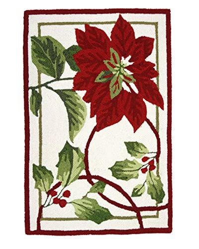 Homefires Rugs Holiday Trim, Red, 22″ x 34″