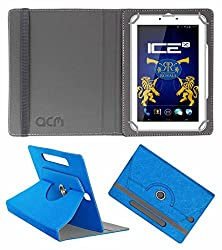 Acm Designer Rotating Leather Flip Case For Ice Spectra Plus Rr Edition Tablet Cover Stand Dark Blue