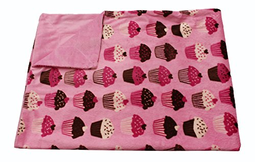 Thro by Marlo Lorenz Cupcakes Micro Plush Baby Blanket, 30 by 40-Inch, Pink Brown - 1
