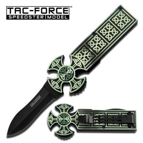Irish Celtic Scottish Gaelic Christian Cross Twist Knot Folding Pocket Knife