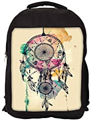 Snoogg Dream Catcher Colourful Backpack Rucksack School Travel Unisex Casual Canvas Bag Bookbag Satchel