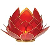 Luna Bazaar Full Bloom Capiz Lotus Candle Holder (4.5-Inch, Red, Gold-Edged)