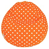 Majestic Home Goods Bean Bag, Tangerine Small Polka Dot, Small