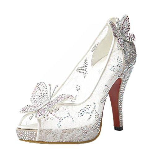 Littleboutique Night Club Platform Lace Crystal Rhinestone Party Pumps Peep Toe Wedding Bridal High Heels White 7