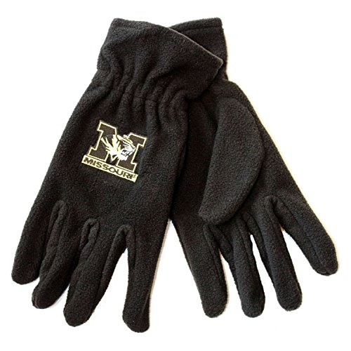 NCAA Officially Licensed Missouri Mizzou Tigers Black Embroidered Fleece Gloves (Missouri Football Gloves compare prices)
