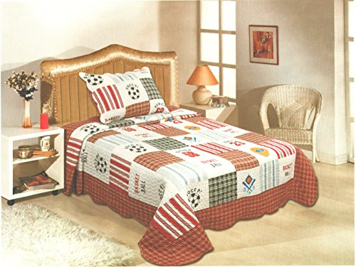 Best Price! Fancy Collection 2 Pc Bedspread Boys Sport Football Basketball Baseball Soccer New Twin ...