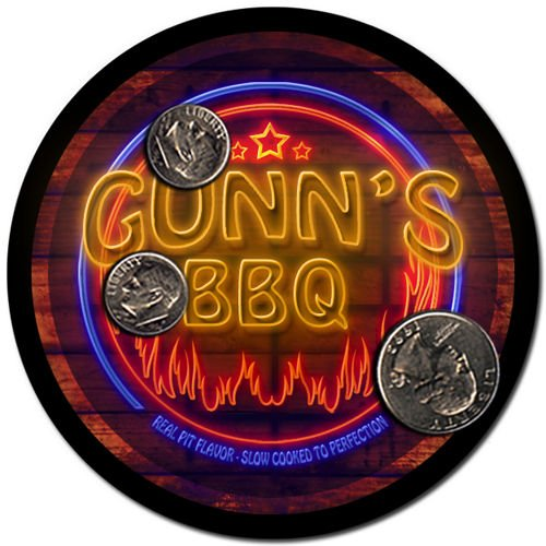 Gunn'S Barbeque Drink Coasters - 4 Pack