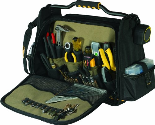 Custom Leathercraft 1589 Double Closed Compartments Tool Carrier, 43-Pocket