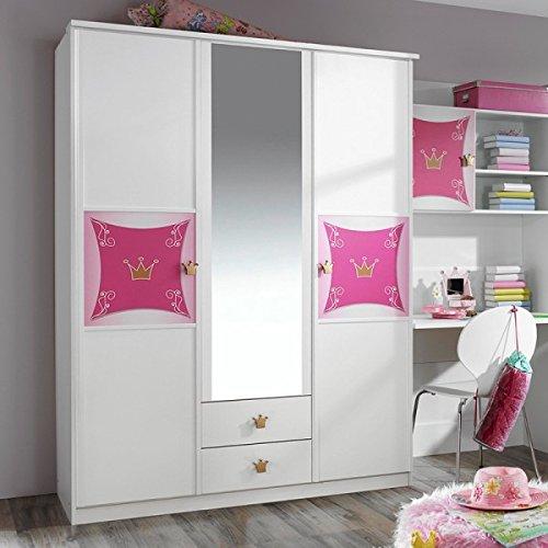 Kleiderschrank Zoe weiß / rosa 3 Türen B 136 cm Schrank Drehtürenschrank Spiegelschrank Mädchen Prinzessin Kinderzimmer Jugendzimmer 1229 günstig