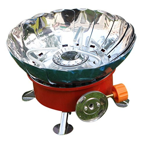 Prevent Wind Outdoor Bbq Camping Three Legs Gas Cans Stove Head With A Portable Bags Silver & Red front-118713