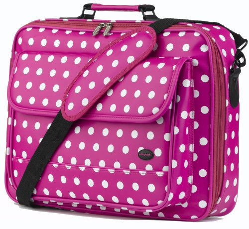 Oliepops Hot Pink Polka Dot Faux Leather Laptop Case fits 15 16 17 inch (LIMITED EDITION)