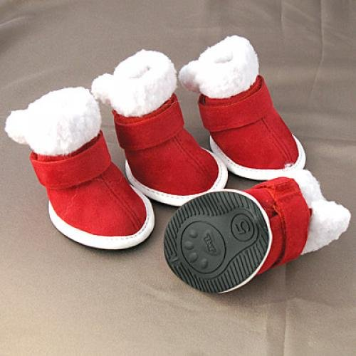 Imported-Red-with-White-Trim-Cozy-Dog-Boots-Clothes-Apparel-5