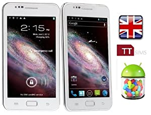 TTsims N9770 - 5.08 inch MTK6577 Android 4.1.1 JELLY BEAN - HD super AMOLED multouch screen 1.2GHz Dual Core CPU - 3G Smartphone Dual Sim Two Camera WIFI GPS New Google Play Store Flash Player Supported, with free flip case - White