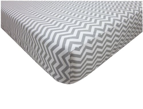 American Baby Company 100% Cotton Percale Fitted Crib Sheet, Zigzag Grey Amazon.com
