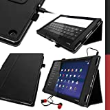"iGadgitz Premium Black PU Leather Folio Case Cover for Sony Xperia Z2 Tablet SGP511 10.1"" with Multi-Angle Viewing Stand + Auto Sleep/Wake + Hand Strap + Stylus Pen Holder + Screen Protector"