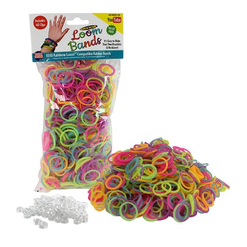 Loom Rubber Bands - 1000 Glow in the Dark Rubber Band Refill Value Pack w/ Clips (Glow in the Dark Rainbow Colors) - 1