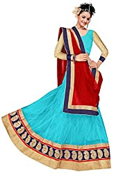 Pushty Fashion Sky Blue and Red net Embroidered Lehenga
