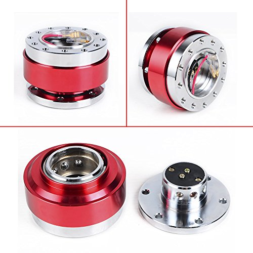 ANZIO Universal RED 6 Holes Racing Steering Wheel Quick Release Hub Adapter Snap Off Boss Kit