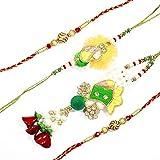 MJR Charming Pearls & Stone Pattern Bhaiya - Bhabhi Rakhi + Two Additional Rakhis and Roli - Chawal (Akshat) for Puja
