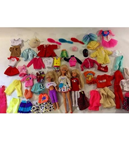 56 Pieces of Vintage Barbie Mattel Dolls Clothes and Accessories mixed Set #26124 3 dolls included!