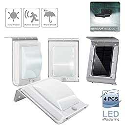 eTopLighting 4 Packs of 16-LED Solar-Powered Outdoor Wall Light Lamp with Motion Sensor, Water Proof, Heat Proof, Durable Metal Body, Solar Panel, AGG1999